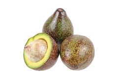 set of avocados isolated on white Royalty Free Stock Photography