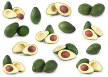 Set of avocados on white Stock Images