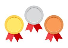 Set of award medals with red ribbon. Vector illustration royalty free illustration