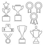 Set of award success and victory line icons. With trophies stars cups ribbons rosettes medals medallions wreath and a podium Stock Photo