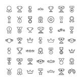 Set of 49 award thin line icons. High quality pictograms of achievement. Modern outline style icons collection. Prize, success, badge, cup, etc Vector Illustration
