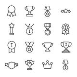 Set of 16 award thin line icons. High quality pictograms of achievement. Modern outline style icons collection. Prize, success, badge, cup, etc Stock Photography