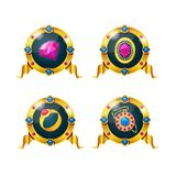 Set of awards, badges, icons of gems, amulets, treasures. Set of awards, badges, medals of achievements for computer games. Game ui ux interface design stock illustration