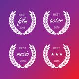 Set of awards for best. Black color film award wreaths isolated Royalty Free Stock Photography