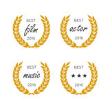 Set of awards for best. Black color film award wreaths isolated on the white background. Royalty Free Stock Photos