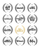 Set of awards for best film, actor, actress, director, music, picture, winner and short film with wreath and 2016 text. Black and golden color film award Royalty Free Stock Photo