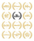 Set of awards for best film, actor, actress, director, music, picture, winner and short film with wreath and 2016 text. Black and. Golden color film award Royalty Free Stock Photos