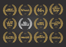 Set of awards for best film, actor, picture, animated, costume design, actress, director, music and winner for movie festival with Stock Photography
