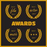 Set of awards for best. Film award wreaths isolated on the white background Stock Image