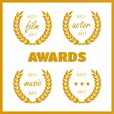 Set of awards for best. Film award wreaths isolated on the white background Stock Photo