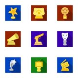A set of awards for the movie viewings. Gold, silver and bronze awards to the Director, the actor. Moovie awards icon in Royalty Free Stock Photos
