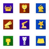 A set of awards for the movie viewings. Gold, silver and bronze awards to the Director, the actor. Moovie awards icon in Stock Image