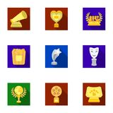 A set of awards for the movie viewings. Gold, silver and bronze awards to the Director, the actor. Moovie awards icon in Stock Images