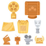 A set of awards for the movie viewings. Gold, silver and bronze awards to the Director, the actor. Moovie awards icon in. Set collection on cartoon style vector Stock Image