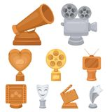 A set of awards for the movie viewings. Gold, silver and bronze awards to the Director, the actor. Moovie awards icon in. Set collection on cartoon style vector Royalty Free Stock Photo