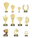Set of awards from pure gold for participation in competitions. Vector, illustration in flat style isolated on white Royalty Free Stock Image