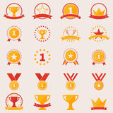 Set of awards and victory icons. Vector flat trophy winner symbols or logos Royalty Free Stock Photos
