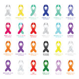 Set of awareness ribbons Stock Photography