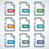 Set of awesome styled flat document icons on a white backround. Royalty Free Stock Photos