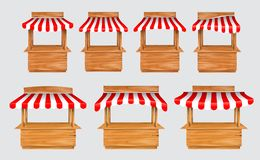 Set of awing with wooden market stand stall and various kiosk, with red and white striped awning isolated. Easy to modify royalty free illustration