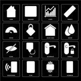 Set awiofon, Chłodno, Smartphone, Doorknob, stora, Mądrze dom, ilustracja wektor