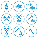 Set of the ax and campfire icon. Flat Vector illustration Stock Photos