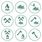 Set of the ax and campfire icon. Flat Vector illustration Stock Image
