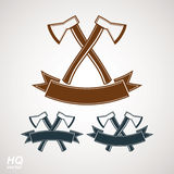 Set of axes crossed vector illustrations, garden tool symbols. G Stock Photos