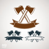 Set of axes crossed vector illustrations, garden tool Royalty Free Stock Photos