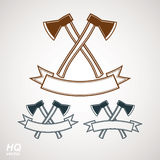 Set of axes crossed vector illustrations, garden tool symbols. Graphic eps8 instrument icons, two hatchets crossed Royalty Free Stock Images