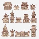 Set Azjatyckie świątynie i rezydencja ziemska domy Royalty Ilustracja