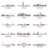 Set azjatykcie miasto linie horyzontu w popielatym waży odosobnionego na białym tle Fotografia Royalty Free