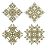 Set aztec ornaments. Seamless wallpaper with aztec ornament in gold colors, design element Royalty Free Stock Photos