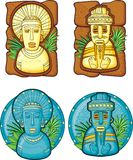 Set of aztecs masks. Stone sculptures vector illustration