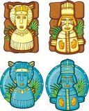 Set of aztecs masks. Stone sculptures stock illustration