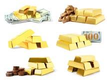 Set błyszczący złociści bary, bryłki i banknoty, obraz royalty free