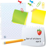 Set Bürobriefpapier - verschiedene Papierpeaces Lizenzfreies Stockfoto