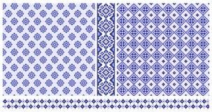 Set błękita krzyża zaszyci wzory i granicy Zdjęcie Stock