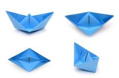 Set błękitne origami papieru łodzie Papercraft transport Fotografia Royalty Free