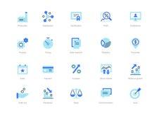 Set błękitne płaskie biznesowe ikony z ciemnym błękita akcentem royalty ilustracja