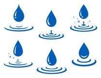 Set błękitne wody pluśnięcie i kropla Zdjęcie Royalty Free