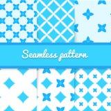 Set błękitni śliczni bezszwowi wzoru światła tła Fotografia Royalty Free