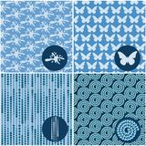 Set błękitni bezszwowi wzory Obrazy Stock