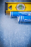 Set błękitni budowa rysunki równi na kruszcowym tle Zdjęcie Royalty Free