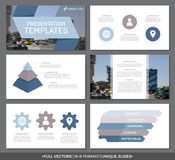 Set błękitni i brown elementy dla wielocelowego prezentacja szablonu ono ślizga się z wykresami i mapami Ulotka, korporacyjna Fotografia Stock