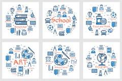 Set błękitni szkolni sztandary z kreskowymi ikonami royalty ilustracja