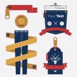 Set Błękitny Jean i odzieży Retro etykietki odznaka i Obrazy Stock