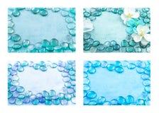 Set błękitny szkło opuszcza aqua tła Obraz Royalty Free