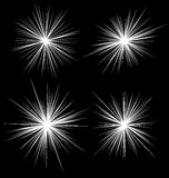 Set błysk, świecenie elementy Promieniowe wybuch linie 4 różnica ilustracji