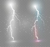 Set błyskawicowa magia i jaskrawi lekcy skutki również zwrócić corel ilustracji wektora Rozładowanie elektryczny prąd Ładunku prą ilustracji